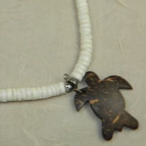 Puka Shell and Wooden Sea Turtle Necklace 16""